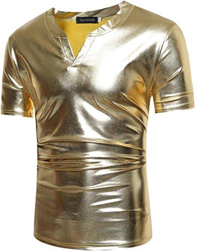 Sportrendy Men Nightclub Slim Metallic Bronzing Short Sleeves T-Shirt Tee D794 Golden XS