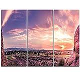 Design Art MT11744-3P Evening Red Sky Over Phoenix Arizona Landscape Metal Wall Art (3 Piece),Red,36x28''