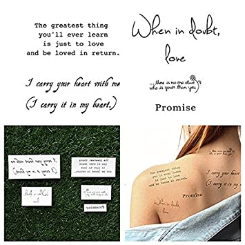 40c9ae1bef3c3 Amazon.com : Tattify Romantic Quote Temporary Tattoos - Words of paradise  (Set of 10 Tattoos - 2 of each Style) - Individual Styles Available -  Fashionable ...