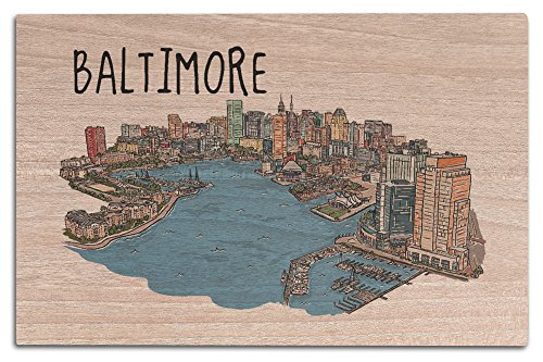 Baltimore, Maryland - Line Drawing (12x18 Wood Wall Sign, Wall Decor Ready to - Baltimore Gallery Hours The