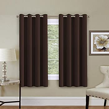 This Item H.Versailtex Blackout Chocolate Brown Curtain Panels For Short  Window (Thermal Insulated And Antique Grommet Top) 52x63 Inch Long Set Of 1  Panel