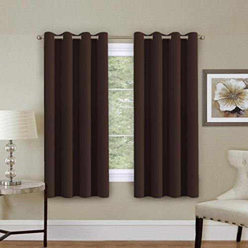 H.Versailtex Blackout Chocolate Brown Curtain Panels for Short Window (Thermal Insulated and Antique Grommet Top)-52x63 Inch Long-Set of 1 Panel (Chocolate Antique Set)