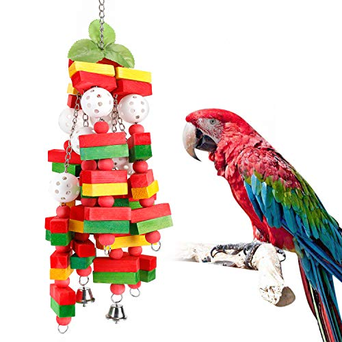 Aigou Parrot Toys, Bird Chewing Toy for Large Medium African Grey Macaws Cockatoos Eclectus Amazon