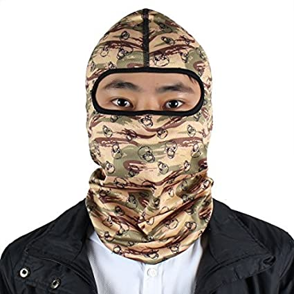 eDealMax Patrón Lycra deportes al aire Libre Camuflaje del cráneo máscara completa del pasamontañas Sombrero del