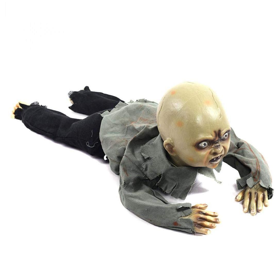 JRXyDfxn Fantasma Halloween DellOrnamento Creepy Bambino Che Striscia Fantasma LED Animato Bambino Zombie Suono Doll Prop Partito
