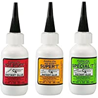 Satellite City CA Glue Set of 3 - (1) Original Thin, (1) Super T Medium, (1) Special T Thick - 2 oz Bottles by Satellite City
