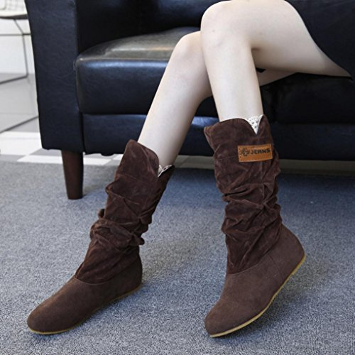 HCFKJ Woman knee High Boots Flat Heel Nubuck Motorcycle Boot Autumn Winter Shoes Lace Coffee AlGucY3dSf