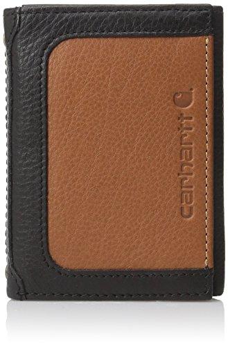 Tan Tri Fold Wallet (Carhartt Men's Trifold Wallet, Black/Tan, One Size)