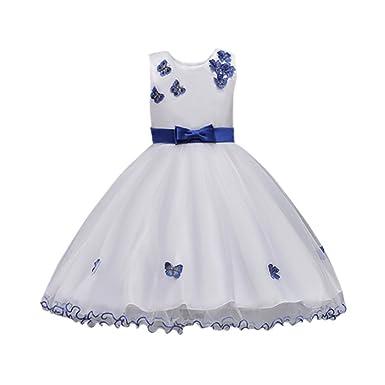 9b4c7992f4d Kobay Girls Sleeveless Butterfly Bow Lace Mesh Tutu Dress