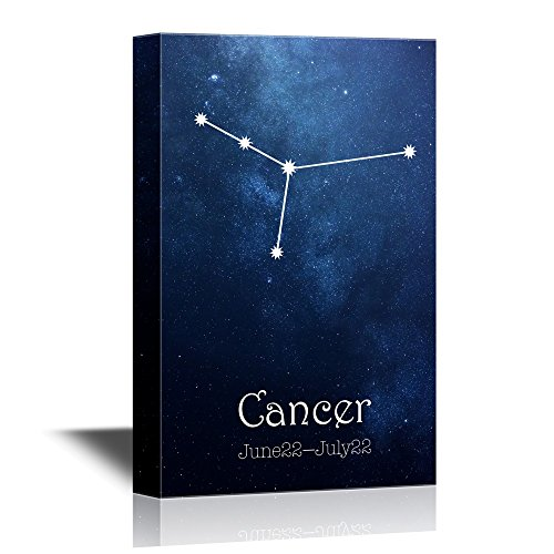 Cancer Zodiac Frame (wall26 - 12 Zodiac Signs Constellation Canvas Wall Art - Cancer - Gallery Wrap Modern Home Decor | Ready to Hang - 12x18 inches)
