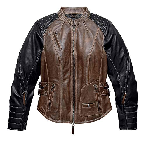 Harley-Davidson Women's Distressed Capitol Leather Jacket, Brown 98105-16VW ()
