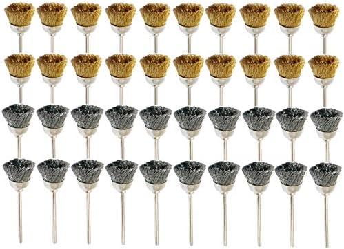 JINTONG 2種類真鍮ワイヤーブラシ& 鋼ブラシ ボウルカップ型 ワイヤーブラシ 研磨ブラシ 研削ブラシ 毛研磨ブラシ ドレメル 回転ツール アクセサリー 【2.35mm軸】40個入り
