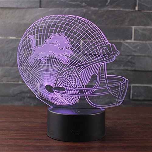 Lion Rugby (3D Illusion Night Light LED Desk Table Lamp 7 Color Touch Lamp Art Sculpture Lights Birthday Gift for Kids Bedroom Decor (Lion Rugby hat))