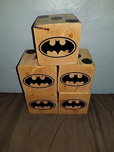 Batman Yard dice Set of 5 Wooden dice for yahtzee Bunco farkle. Includes Bucket and Laminated Score Card