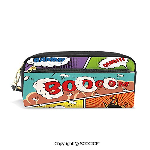 Fasion Pencil Case Big Capacity Pencil Bag Makeup Pen Pouch Retro Comic Strip Speech Bubbles Funny Pop Art Stylized Vintage Hobby Style Image Durable Students Stationery Pen Holder for -