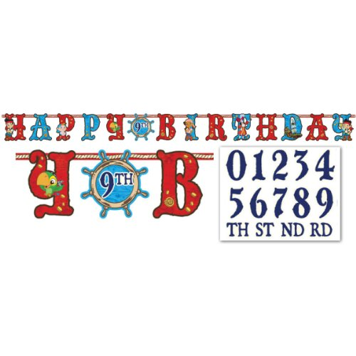 Jake and the Neverland Pirates Add an Age Letter Banner, 1 Piece, Made from Paper, Birthday, by Amscan -