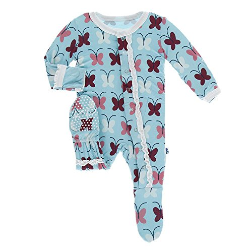 Kickee Pants Little Girls Print Muffin Ruffle Footie With Snaps - Tallulah's Butterfly, 18-24 Months