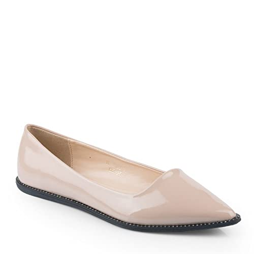 cb997d6176b5c Ideal Shoes Ballerines Vernies à Bout Pointues Ornées de Strass Rihane  Beige 41