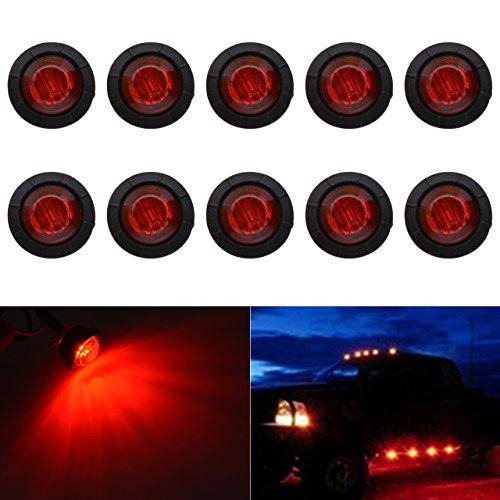 KaTur 3/4Inch Round LED Front Rear Side Marker Indicators Light Waterproof Bullet Marker Light 12V for Car Truck (Red)