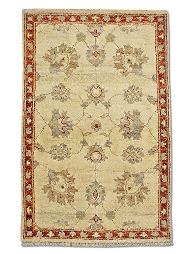 Traditional Persian Chobi Handmade Sultanabad Rug, Wool, Cream, 2' 6