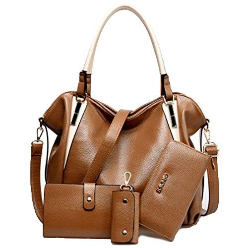 HT Ladies Handbags Set - Bolso al hombro para mujer negro