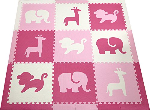 SoftTiles Kids Play Mats- Safari Animals- Premium Interlocking Foam Playmat for Children, Toddlers and Babies 78'' x 78'' (Pink, White, Light Pink) SCSAFPWC by SoftTiles