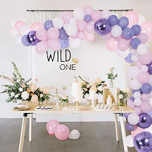 (DIY Balloon Garland & Arch Kit, 140Pcs Pink & Purple & Blue & White Latex Balloons Set with Decorating Strip, Glue Dots, Pink Ribbon, Tying Tool, Hooks for Wedding Birthday Baby Shower Party Decors)