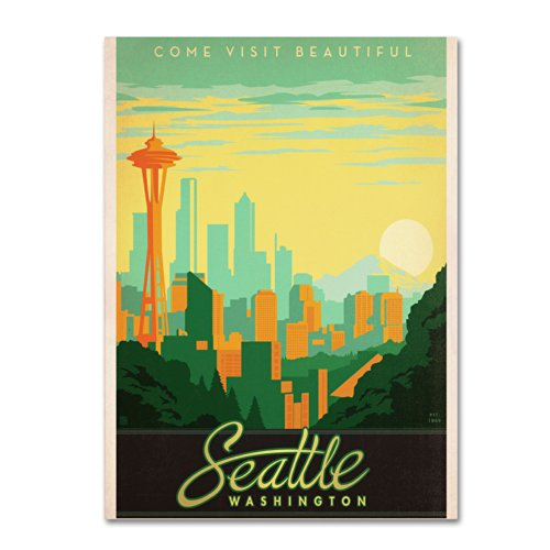 Trademark Fine Art Seattle Artwork by Anderson Design Group, 18 by 24-Inch
