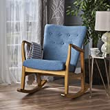 Christopher Knight Home 301994 Collin Mid Century Fabric Rocking Chair (Muted Blue), Light Walnut