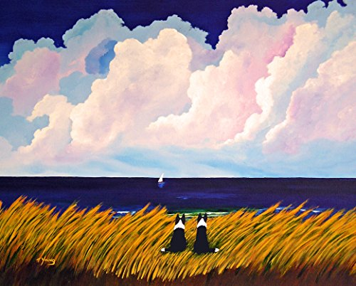 Print Dog Collie - Border Collie Dog Beach Seascape Art print by Todd Young SUMMER LOVE