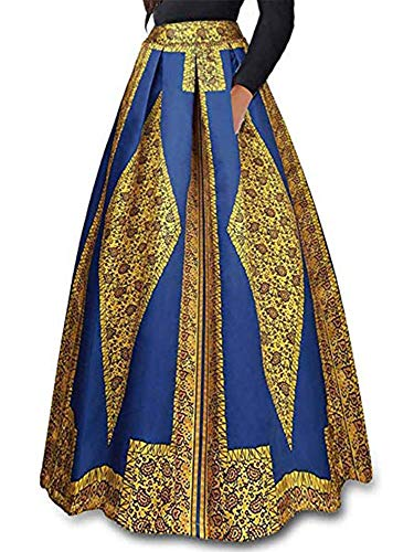 930 - Plus Size Ethnic African Print Long Maxi Skirt (1X, Tribal)