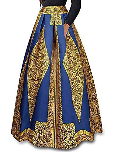 930 - Plus Size Ethnic African Print Long Maxi Skirt (1X, Tribal) (Tribal Skirts Print Long)