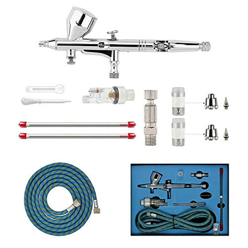 HUBEST Professional 0.2mm\0.3mm\0.5mm Dual action AirBrush Spray Paint Gun Kit Complete Set for General-purpose Art-and-craft Projects Tattoo Model-railroad Detailing R/C Car Bodies Plastic Kits