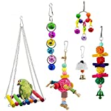 6 PCS Bird Toys for Parakeets Parrots Conures Love Birds Hanging Cage Perch Bell Cockatiel Swing Toys