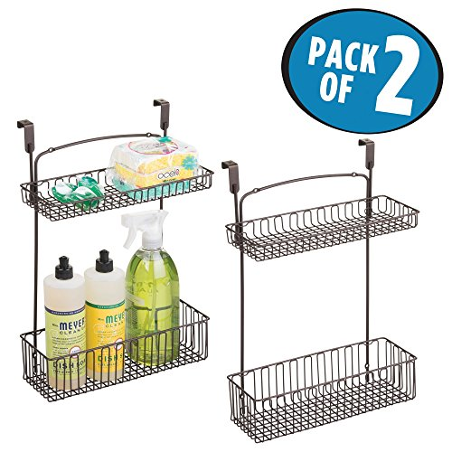 mDesign Over-the-Cabinet Kitchen Hanging 2-Tier Storage Organizer Shelf for Cleaners, Sponges, Dishwashing Soap - Pack of 2, Bronze