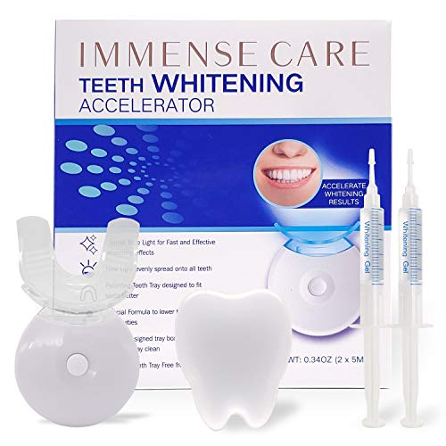 IMMENSE CARE Teeth Whitening Kit, Dental Teeth Whitening, Blue Light Technology Accelerator, 35% Carbamide Peroxide, LED Light, (2) 5ml Gel Syringes, Premium Patent Mouth Tray, Retainer Case