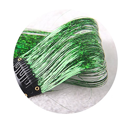 (JYS Fashion Women's Long Wig,Tinsel Sparkle Hair Wigs For Women,Holographic Glitter Hair Straight Wigs,Extensions Highlights Wig For Party Cosplay Full Wigs,Short Wave Wig For Womens (Green))