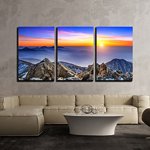 "Wall26 - 3 Piece Canvas Wall Art - Beautiful Landscape at Sunset on Deogyusan National Park in Winter,South Korea. - Modern Home Decor Stretched and Framed Ready to Hang - 24""x36\""x3 Panels"