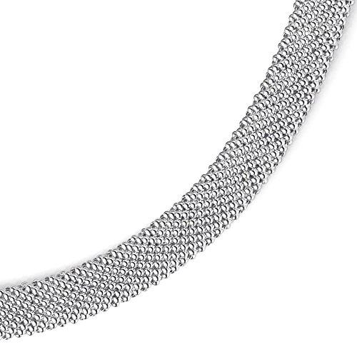 Emall supply bracelet large de 10 mm en or blanc 585 phantasiekette goldarmband 19 cm