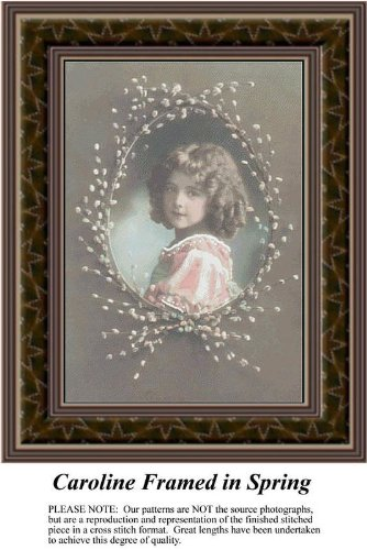 Framed Sunrays - Caroline Framed in Spring, Sepia Counted Cross Stitch Pattern (Pattern Only, You Provide the Floss and Fabric)
