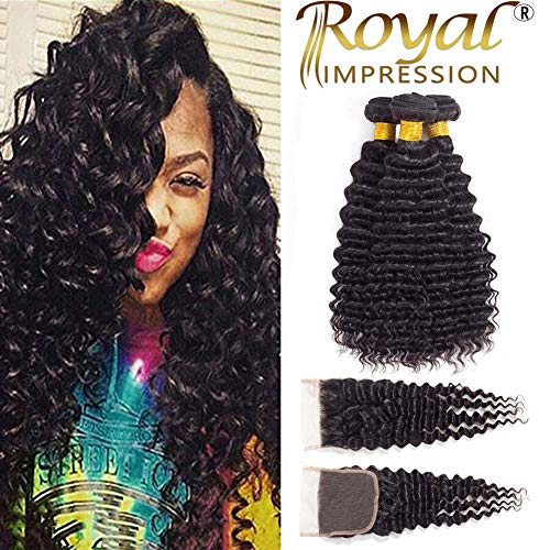 """Brazilian Virgin Pineapple Deep Wave 3 Bundles with Closure Natural Color 10A Virgin Remy Hair with Lace Closure Free Part (14""""16""""18""""+12""""Closure)"""