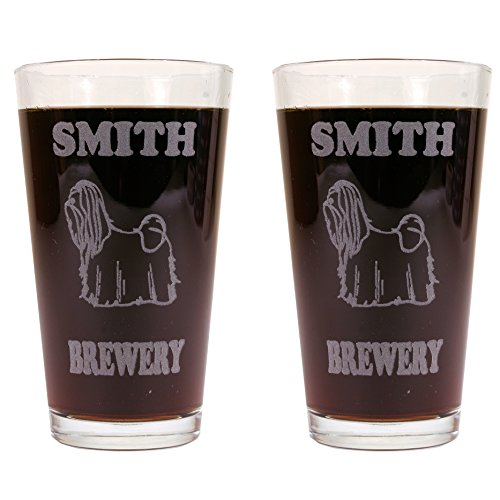 Personalized Custom Beer Mugs With Dog Breeds - 2 Pack of Made in USA Pint Glasses (Shih Tzu)