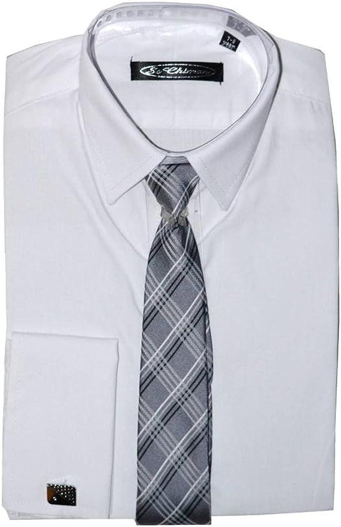Poshtotz Plain Camisa Blanca, Corbata y Gemelos de 1 hasta 15 Años: Amazon.es: Ropa y accesorios