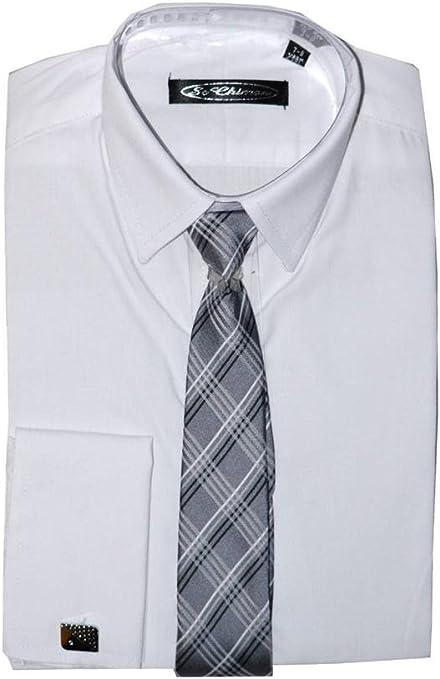 Plain Poshtotz camisa blanca, corbata y gemelos de 1 hasta 15 años