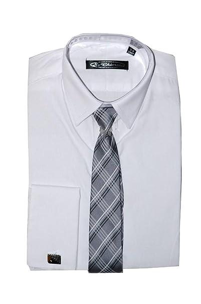 Poshtotz Plain Camisa Blanca, Corbata y Gemelos de 1 hasta 15 Años ...