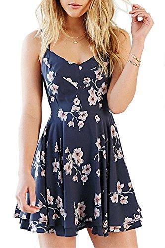 Women's Vintage A-line Floral Print Crisscross Back Cami Dress/Skater Dress/Summer Dress (Vintage Floral Summer Dress)
