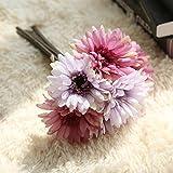 "ZJCilected 7.9"" Full Booming Silk Artificial Gerbera Daisy Floral Bouquet for Home Wedding Decor-7 Stems(Roman Purple)"