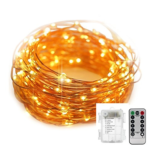 Janker LED String Lights 39 ft with 120 LEDs, String light 8 mode Remote Control, Waterproof Decorative Lights for Bedroom, Patio, Parties. (Warm White)