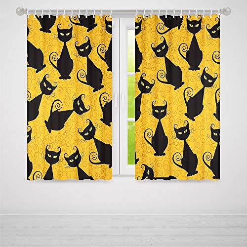 YOLIYANA Bedroom Blackout Curtains,Vintage Decor,Living Room Bedroom Curtain,Black Cat Pattern on Orange Background Halloween Witch Pet Graphic Decorative2 Panel Set,70W X 98L -