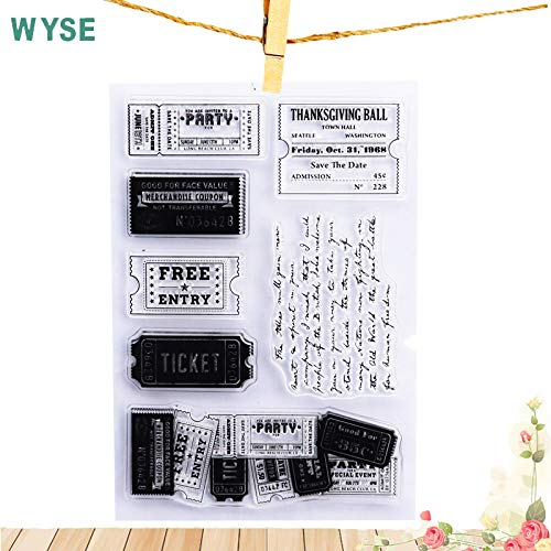 Scrapbooking Rubber Stamp Card Stamps for Making Clear Stamps Ticket Stamp Transparent Rubber Stamp Clear Stamps for Scrapbooking Paper Card Making Wedding Party Invitations DIY